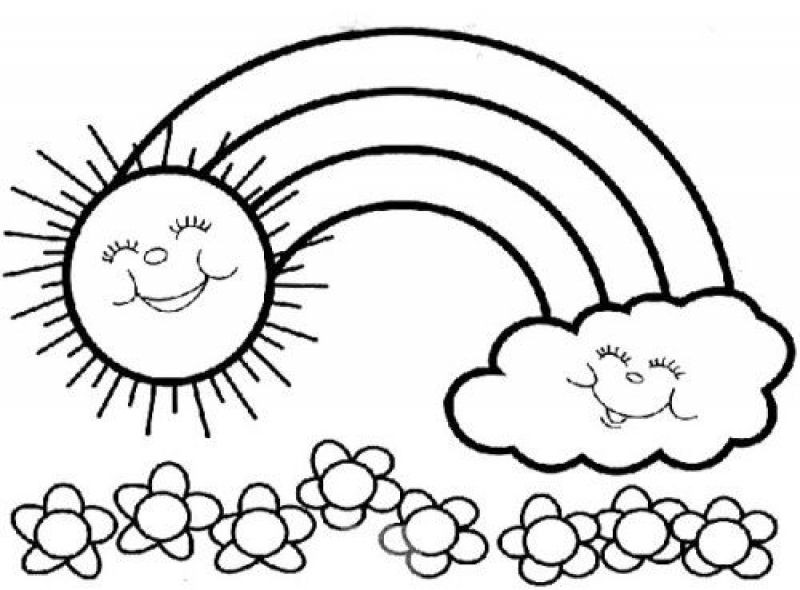 Best ideas about Rainbow Preschool Coloring Sheets . Save or Pin The sun and cloud are happy because of Rainbow coloring Now.
