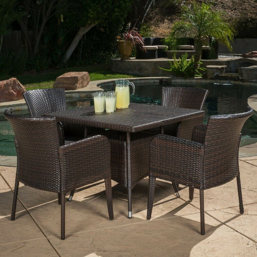 Best ideas about Rattan Dining Set . Save or Pin Contemporary Outdoor 5 piece Brown Wicker Dining Set Now.