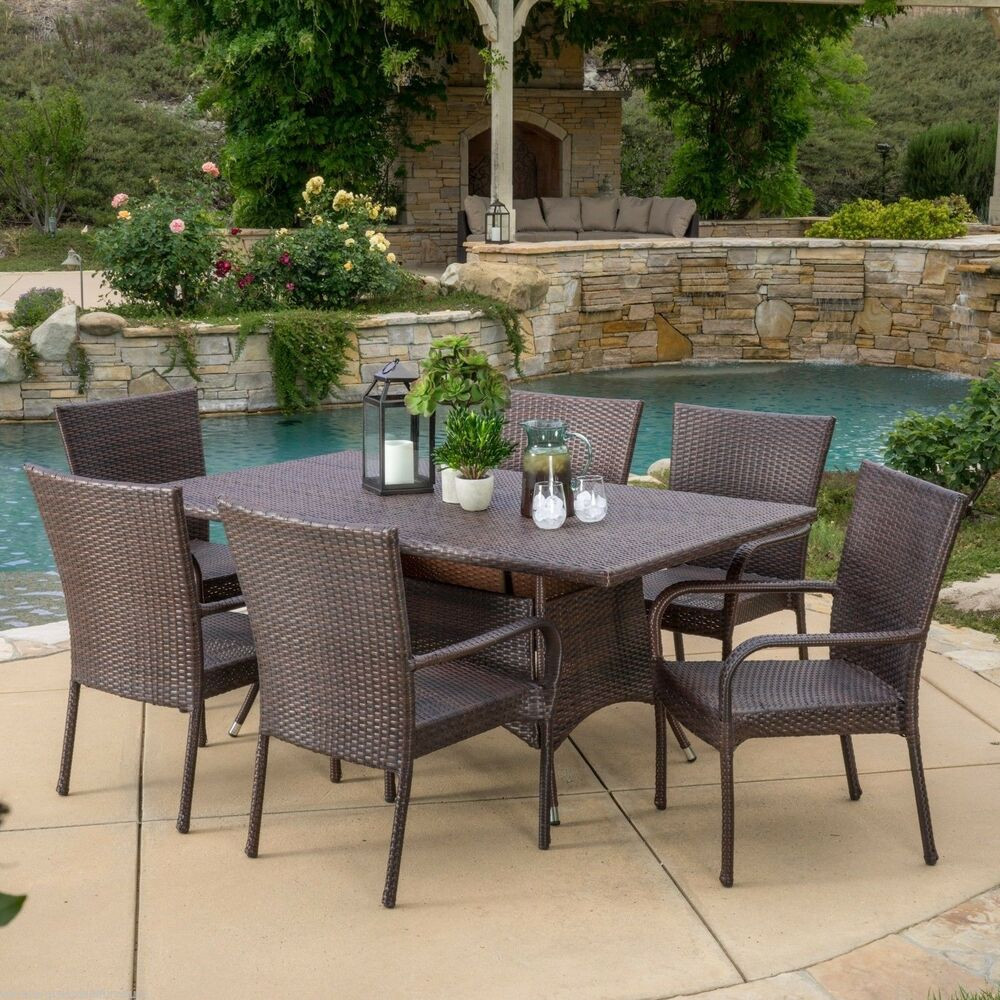 Best ideas about Rattan Dining Set . Save or Pin Outdoor Patio Furniture 7pc Multibrown All Weather Wicker Now.