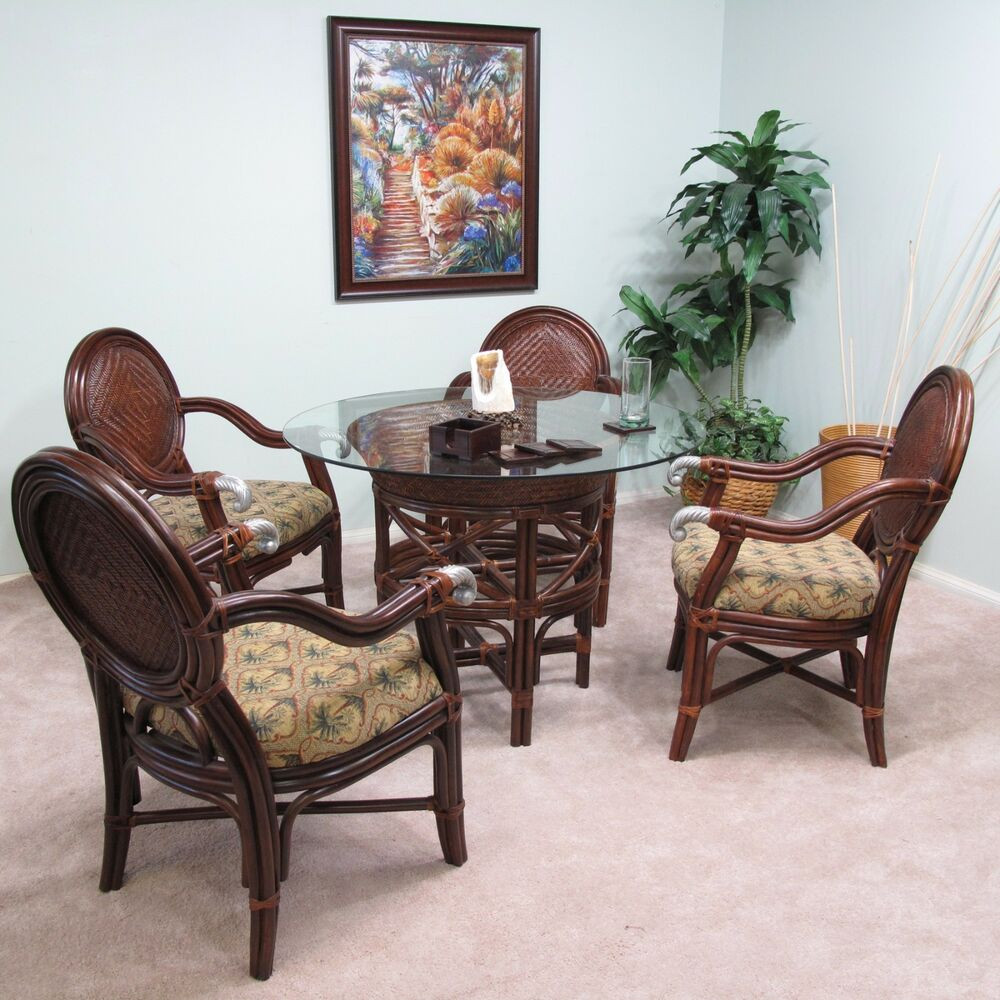 Best ideas about Rattan Dining Set . Save or Pin Calama Rattan Wicker Dining 5PC Furniture Set 4 Chairs Now.