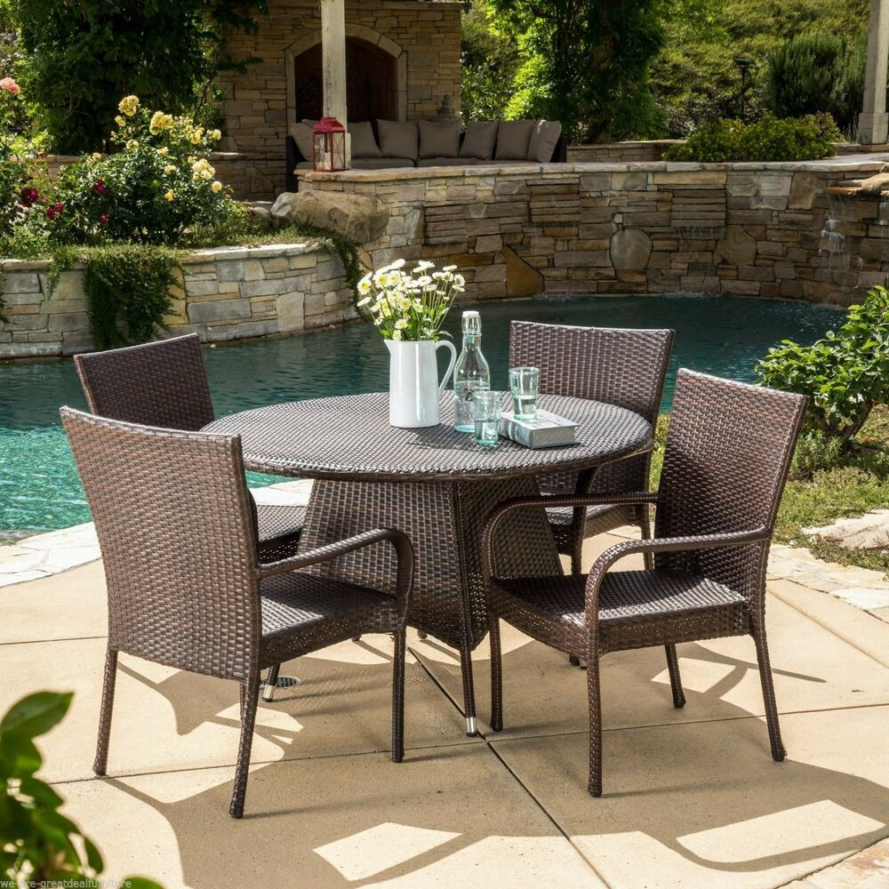 Best ideas about Rattan Dining Set . Save or Pin Outdoor Patio 5pc Multibrown All Weather Wicker Dining Set Now.