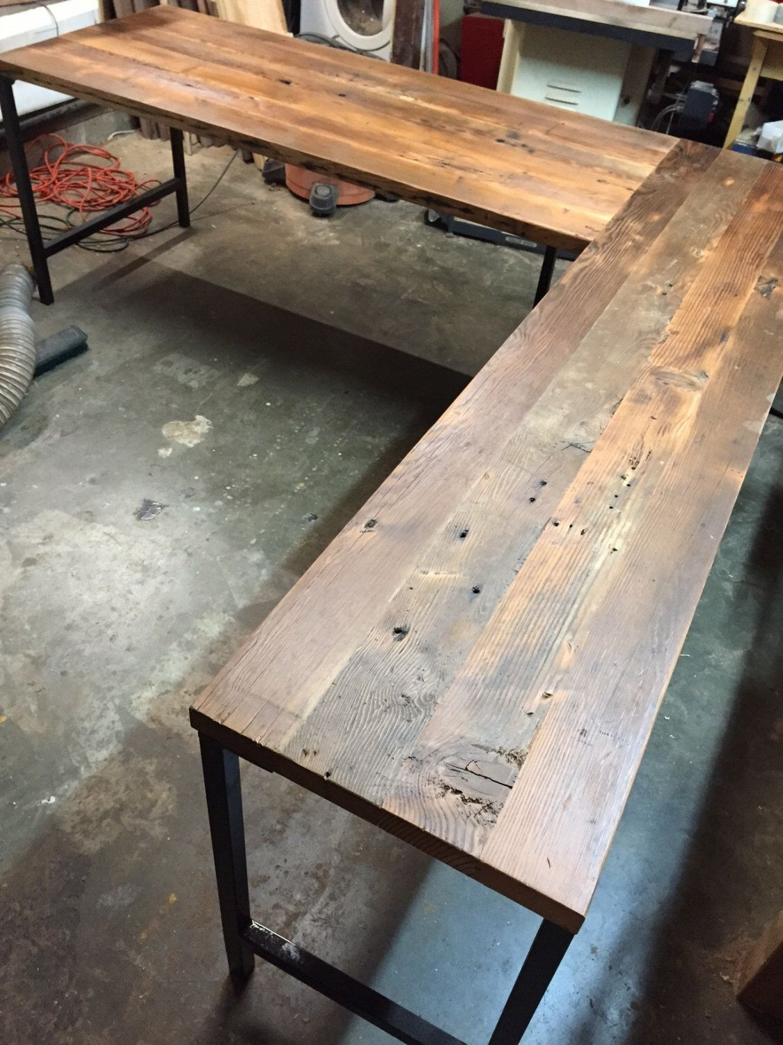 Best ideas about Reclaimed Wood Desk DIY . Save or Pin L Shaped Desk Reclaimed Wood Desk Industrial Modern Now.
