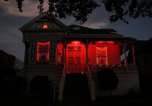 Best ideas about Red Porch Lights . Save or Pin replace a few light bulbs with orange red green or blue Now.
