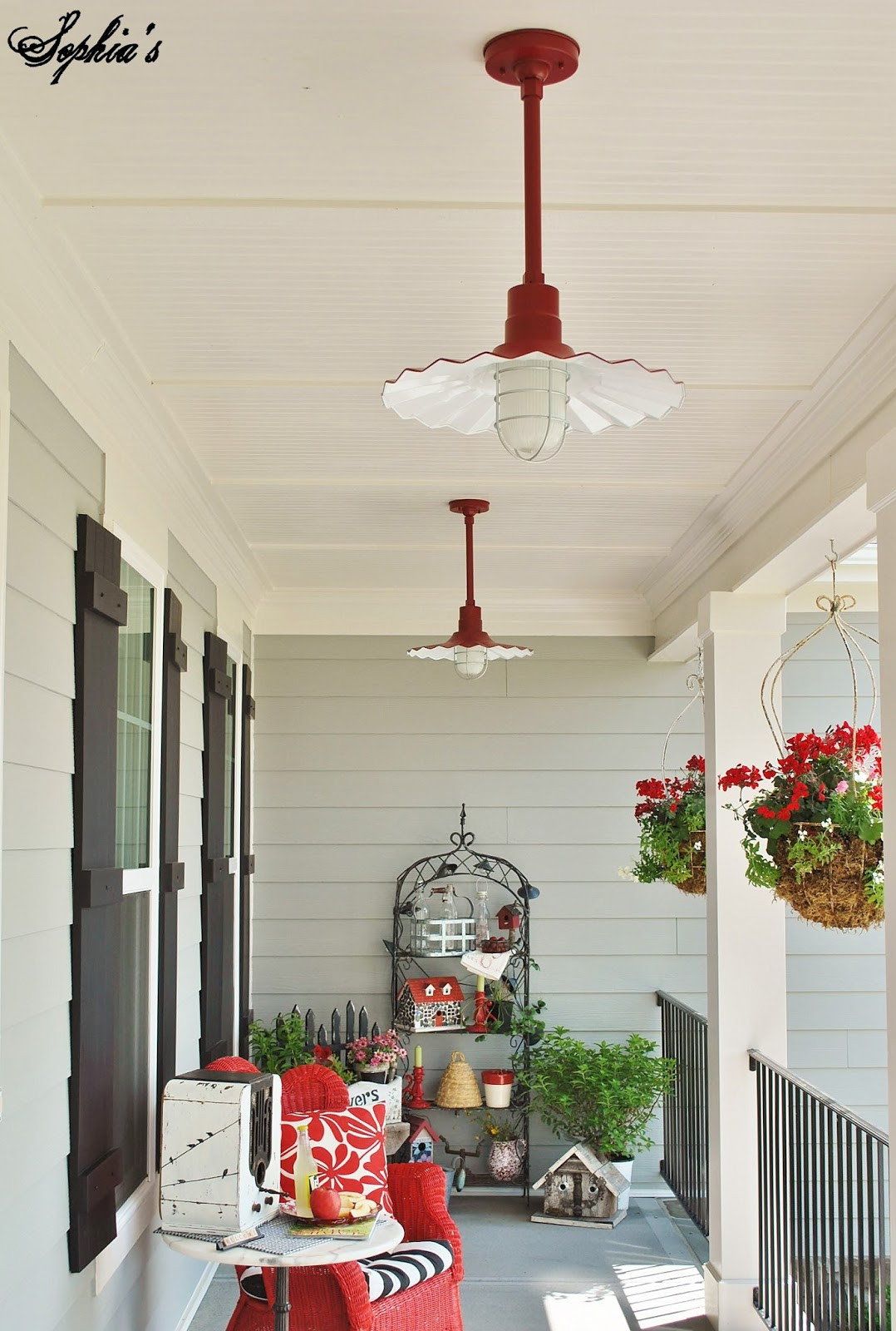 Best ideas about Red Porch Lights . Save or Pin Sophia s Farmhouse Style Front Porch with Pops of Red Now.