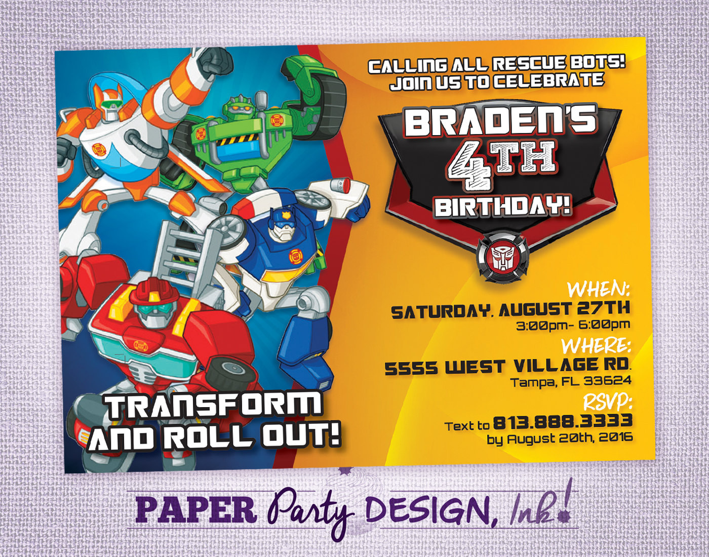 Best ideas about Rescue Bots Birthday Party . Save or Pin Rescue Bots Birthday Party Invitation Rescue Bots Party Now.