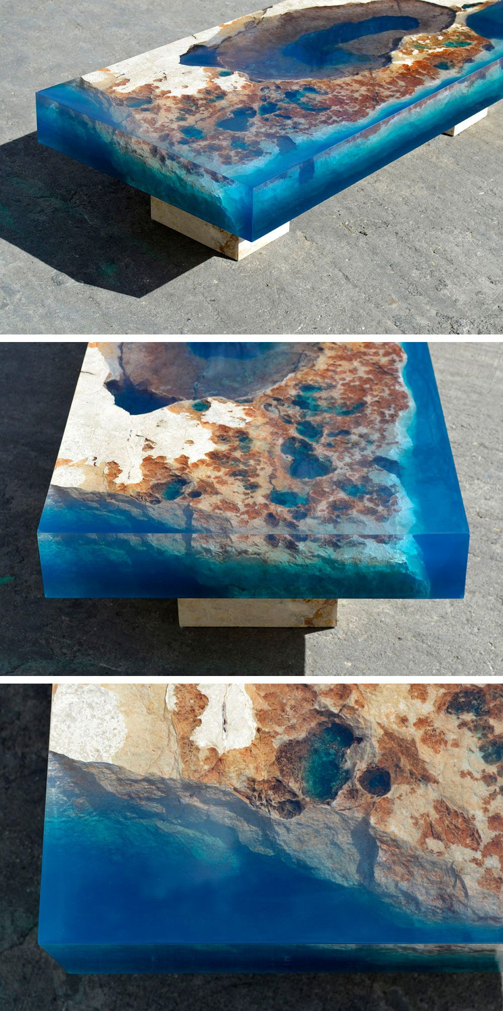 Best ideas about Resin Table DIY . Save or Pin New Cut Stone Tables Encased in Resin Mimic an Ocean Reef Now.