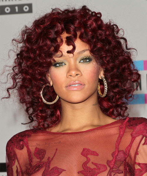 Best ideas about Rihanna Curly Hairstyles . Save or Pin Rihanna Medium Curly Casual Hairstyle Red Hair Color Now.