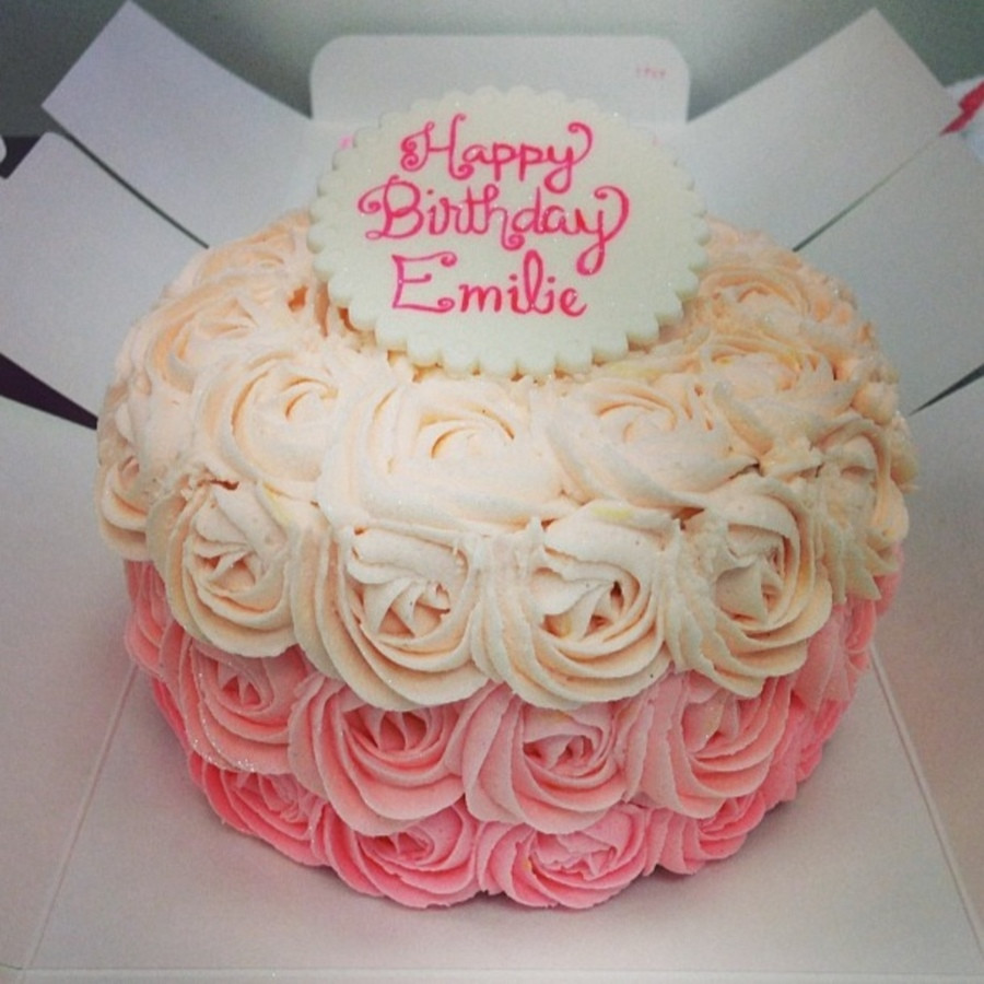 Best ideas about Rose Birthday Cake . Save or Pin An Ombre Rose Birthday Cake With A Fondant Topper Now.