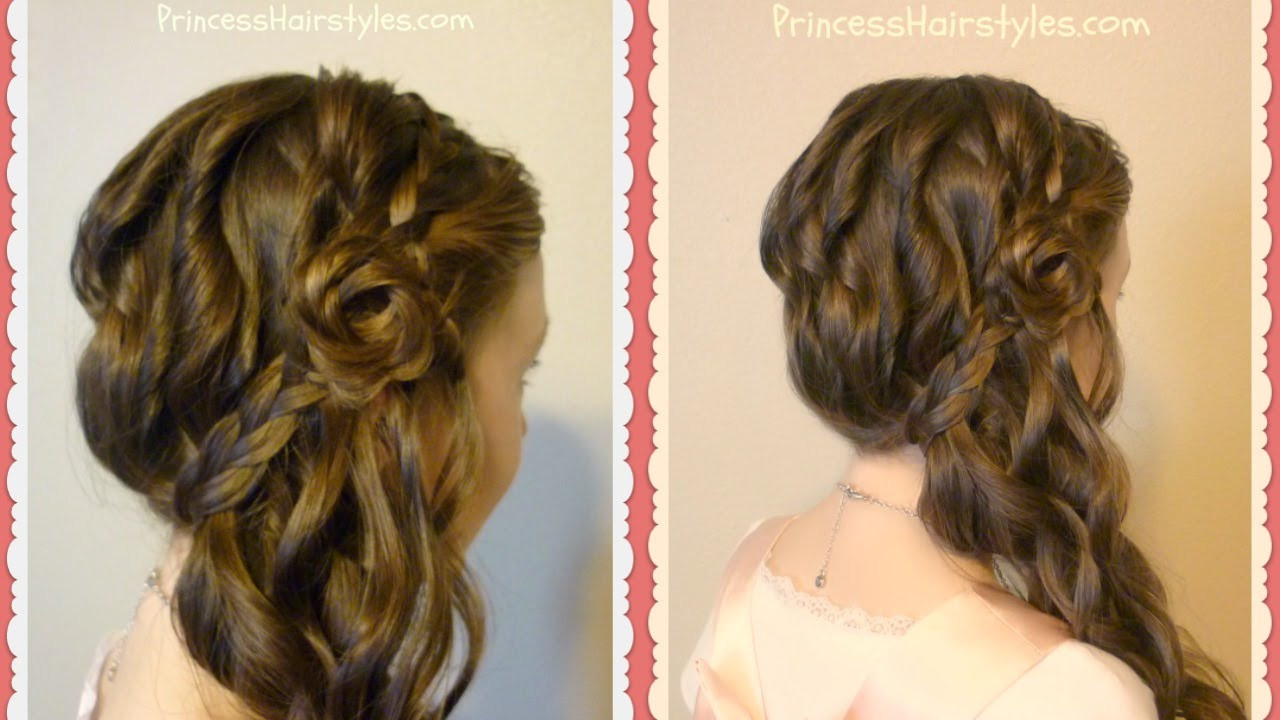 Best ideas about Roses Hairstyles . Save or Pin Romantic Side Swept Braided Rose Hairstyle Now.