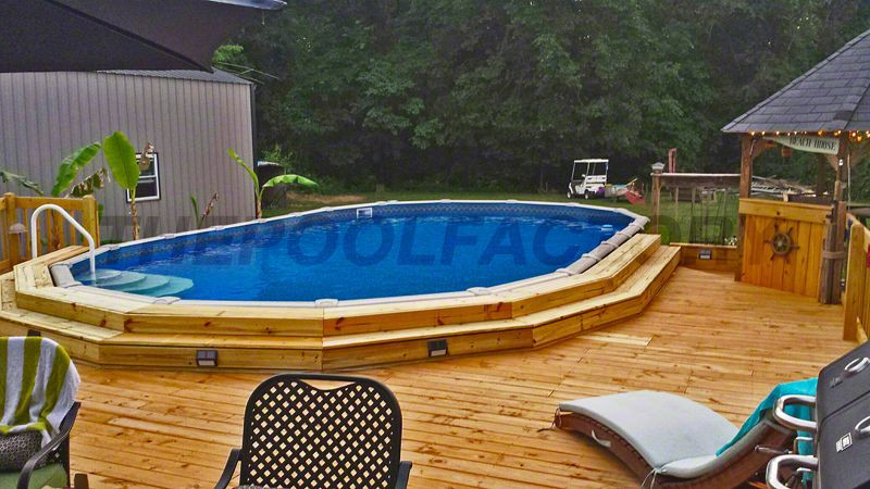 Best ideas about Semi Inground Pools With Deck . Save or Pin A nice wooden deck built around a semi inground pool Now.