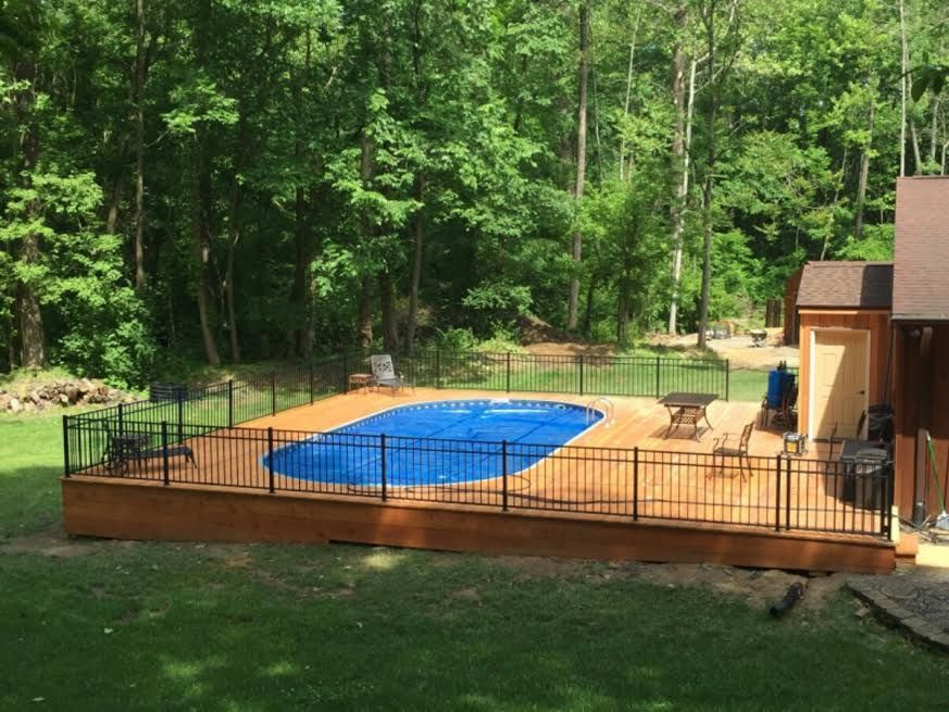 Best ideas about Semi Inground Pools With Deck . Save or Pin Radiant Semi Inground Oval with full deck Now.