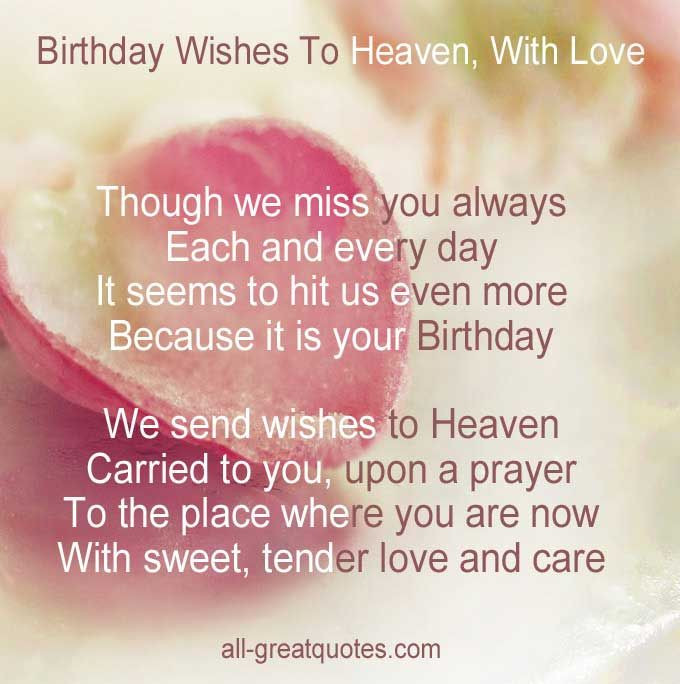 Best ideas about Sending Birthday Wishes To Heaven . Save or Pin Sending Birthday Wishes to Heaven Now.