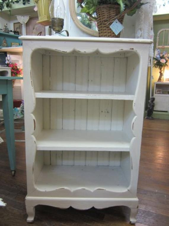 Best ideas about Shabby Chic Bookcase . Save or Pin Vintage Shabby Chic Hand Painted Bookcase Bead Board Back Now.