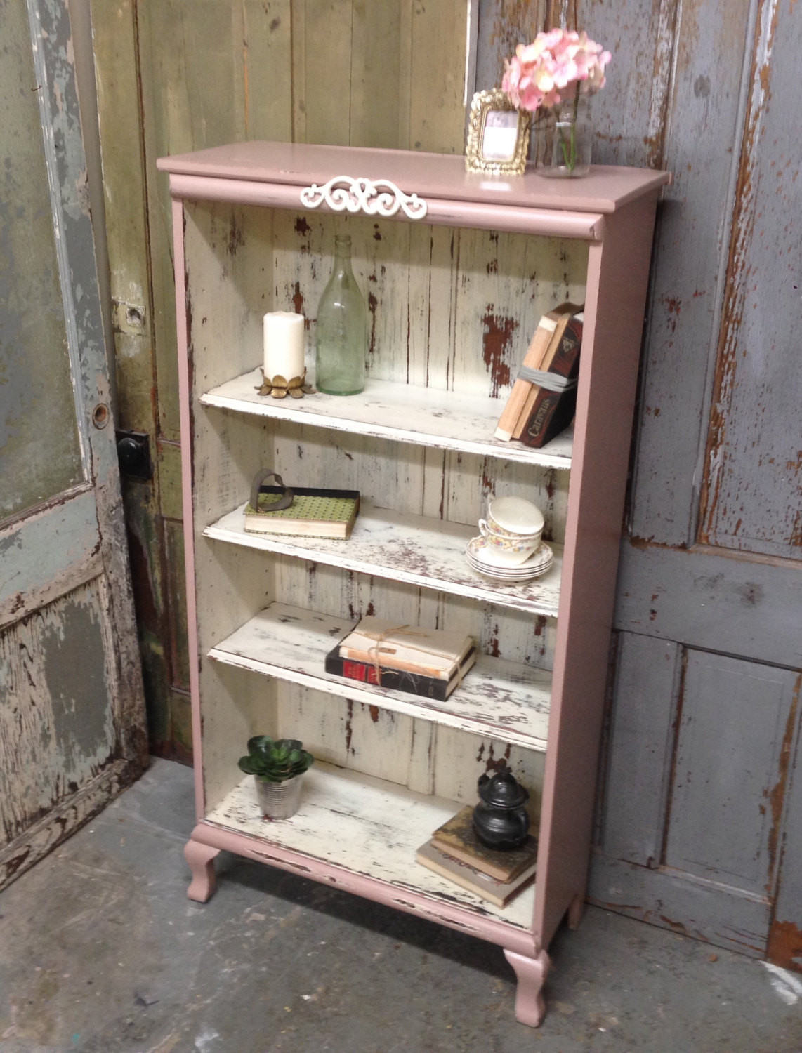 Best ideas about Shabby Chic Bookcase . Save or Pin Pink Shabby Chic Bookshelf Painted Distressed Furniture Now.