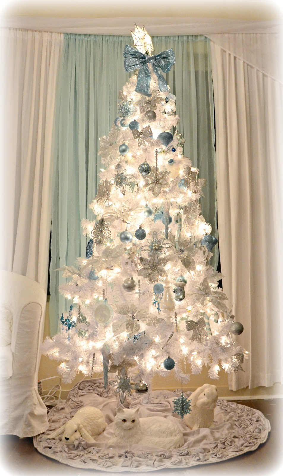 Best ideas about Shabby Chic Christmas Tree . Save or Pin Not So Shabby Shabby Chic White Blue & Silver Christmas Now.