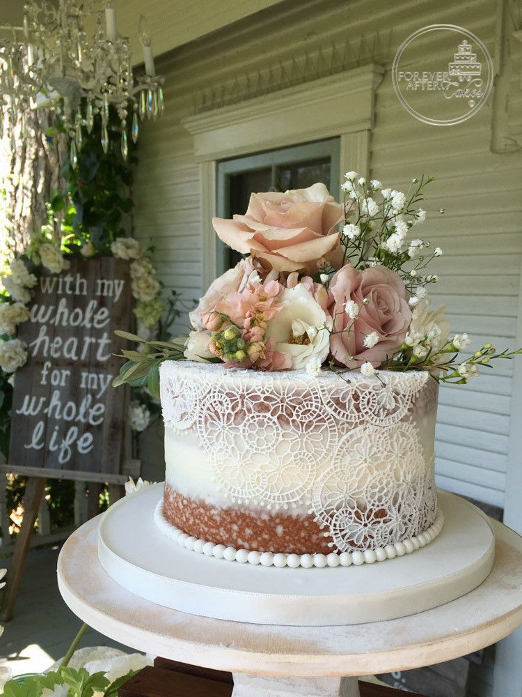 Best ideas about Shabby Chic Wedding Cake . Save or Pin Un stacked Shabby Chic Naked Wedding Cake with Edible Cake Now.