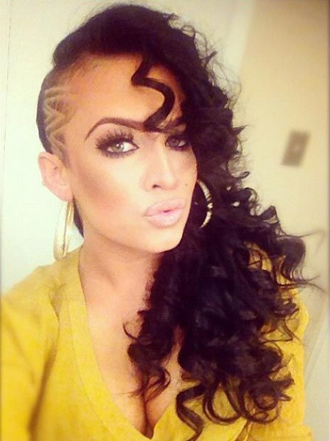 Best ideas about Shaved Side Hairstyles With Curly Hair . Save or Pin 842 best images about H A I R S H A V E D on Pinterest Now.
