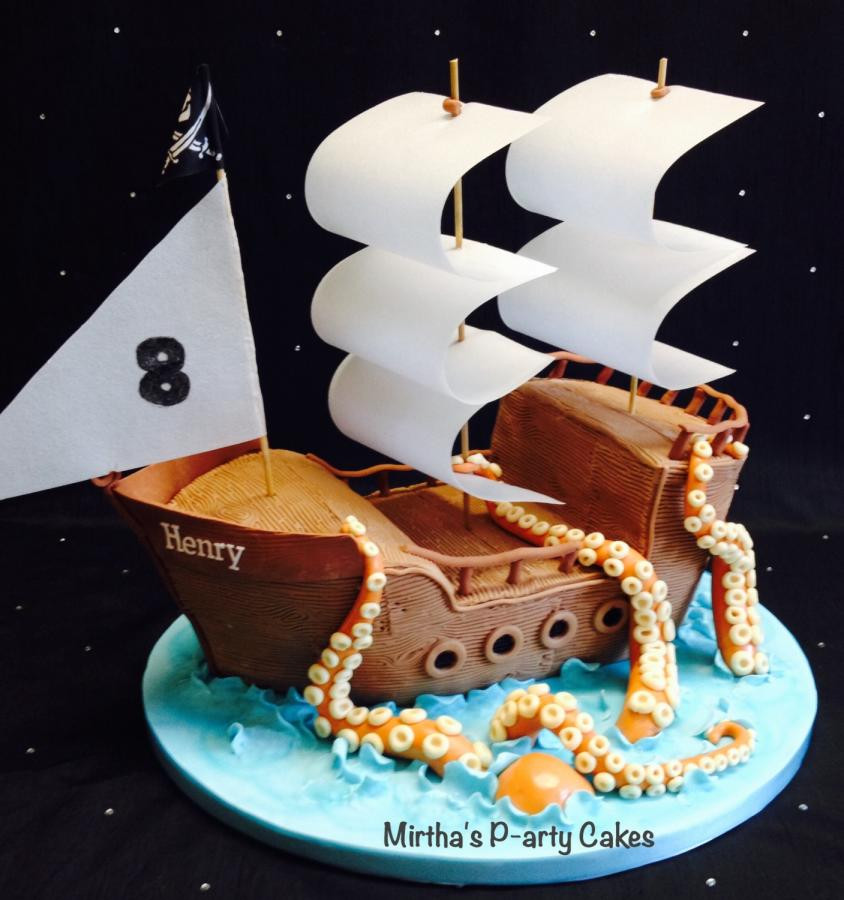 Best ideas about Ship Birthday Cake . Save or Pin Pirate ship & sea monster cake cake by Mirtha s P arty Now.