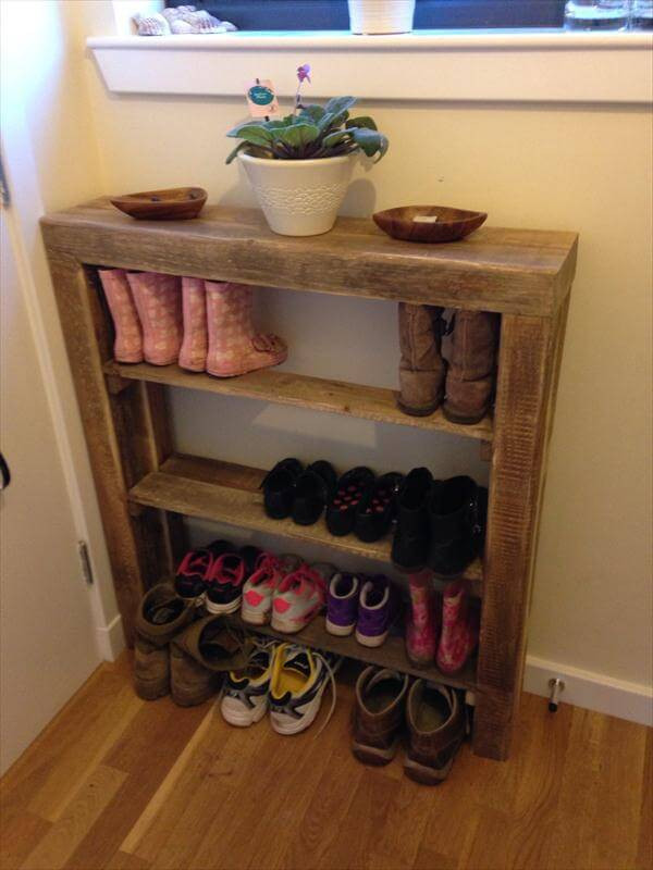 Best ideas about Shoes Organizer DIY . Save or Pin DIY Reclaimed Pallet Wood Shoe Rack Now.