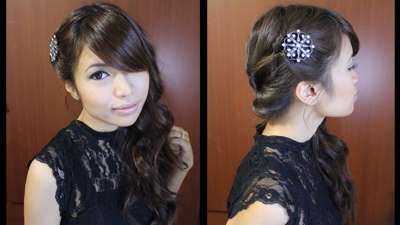 Best ideas about Side Prom Hairstyles . Save or Pin Looped Side Swept Prom Hairstyle for Medium Long Hair Now.