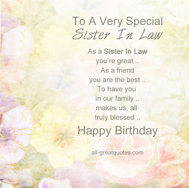 Best ideas about Sister In Law Birthday Quotes . Save or Pin Special Sister In Law Quotes QuotesGram Now.