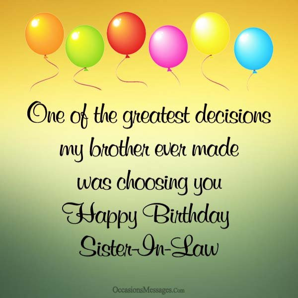 Best ideas about Sister In Law Birthday Wish . Save or Pin Happy Birthday Wishes for Sister in Law Occasions Messages Now.