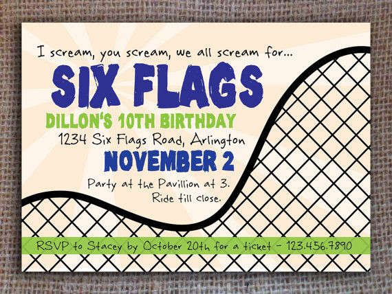 Best ideas about Six Flags Birthday Party . Save or Pin Roller Coaster Invitation Kids Birthday Now.