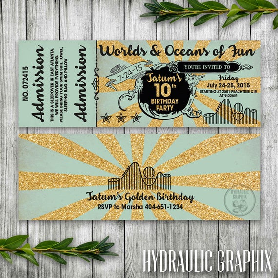 Best ideas about Six Flags Birthday Party . Save or Pin Golden Birthday Glittery Gold Ticket Invitation Six Flags or Now.