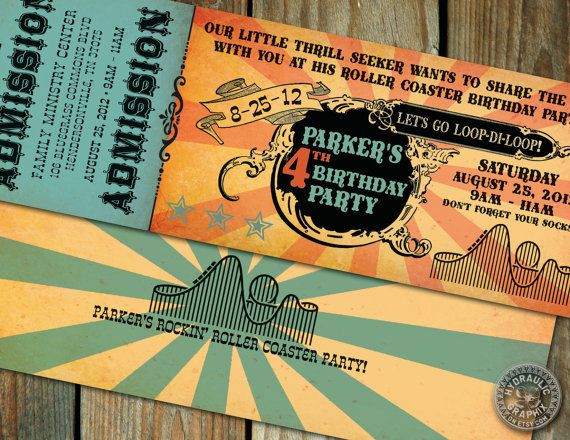 Best ideas about Six Flags Birthday Party . Save or Pin Six Flags or Theme Park Ticket Invitation Roller Coaster Now.