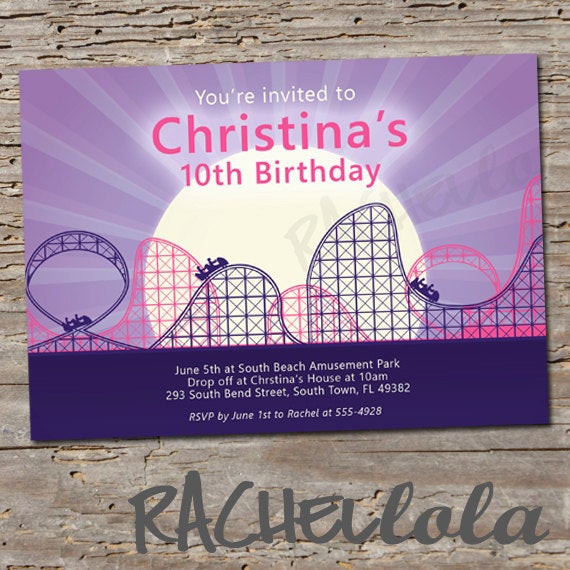 Best ideas about Six Flags Birthday Party . Save or Pin Roller Coaster Birthday Invitation Printable DIY Now.
