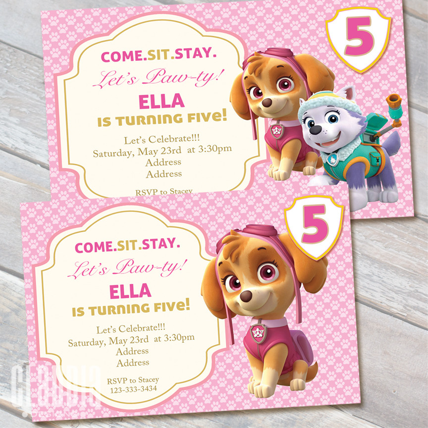 Best ideas about Skye Paw Patrol Birthday Decorations . Save or Pin Skye Paw Patrol Birthday Invitation Claudia Party Designs Now.