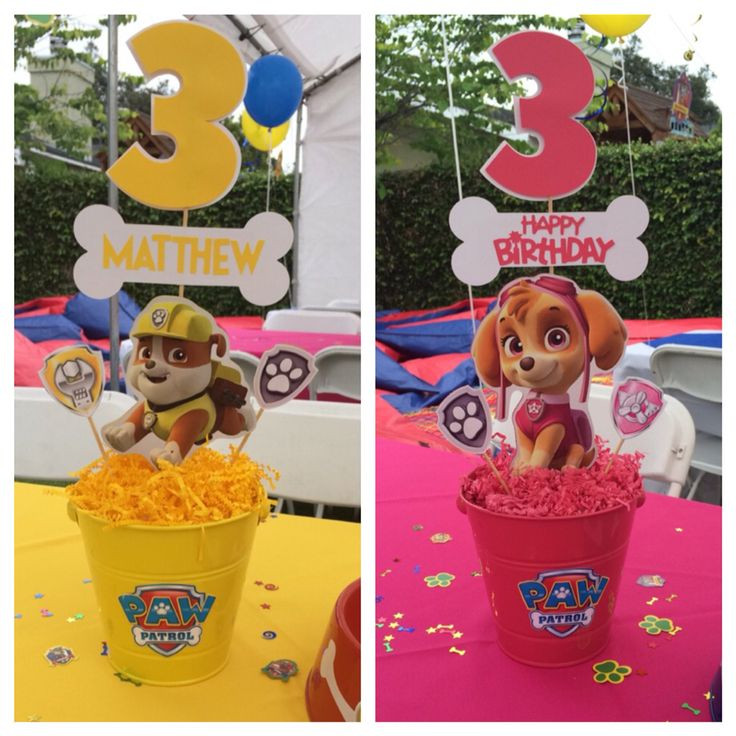 Best ideas about Skye Paw Patrol Birthday Decorations . Save or Pin Paw patrol centerpieces Rubble and Skye Now.