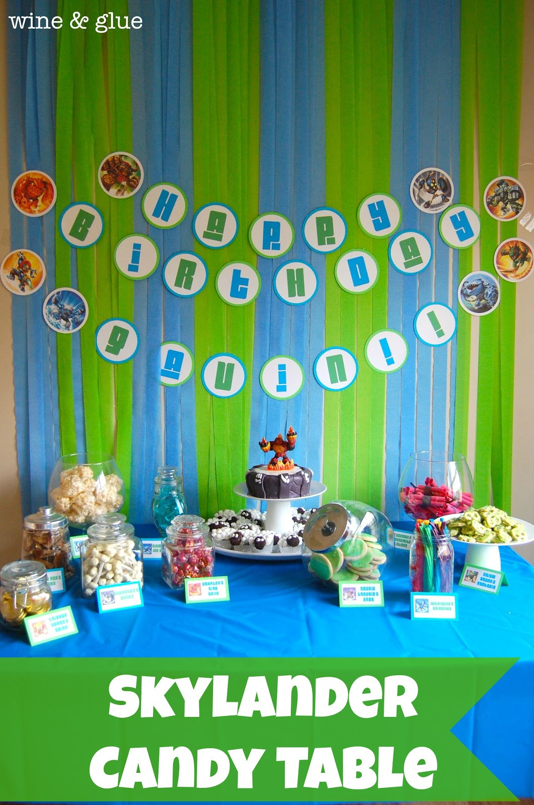 Best ideas about Skylanders Birthday Party . Save or Pin Skylander Party Candy Table Wine & Glue Now.