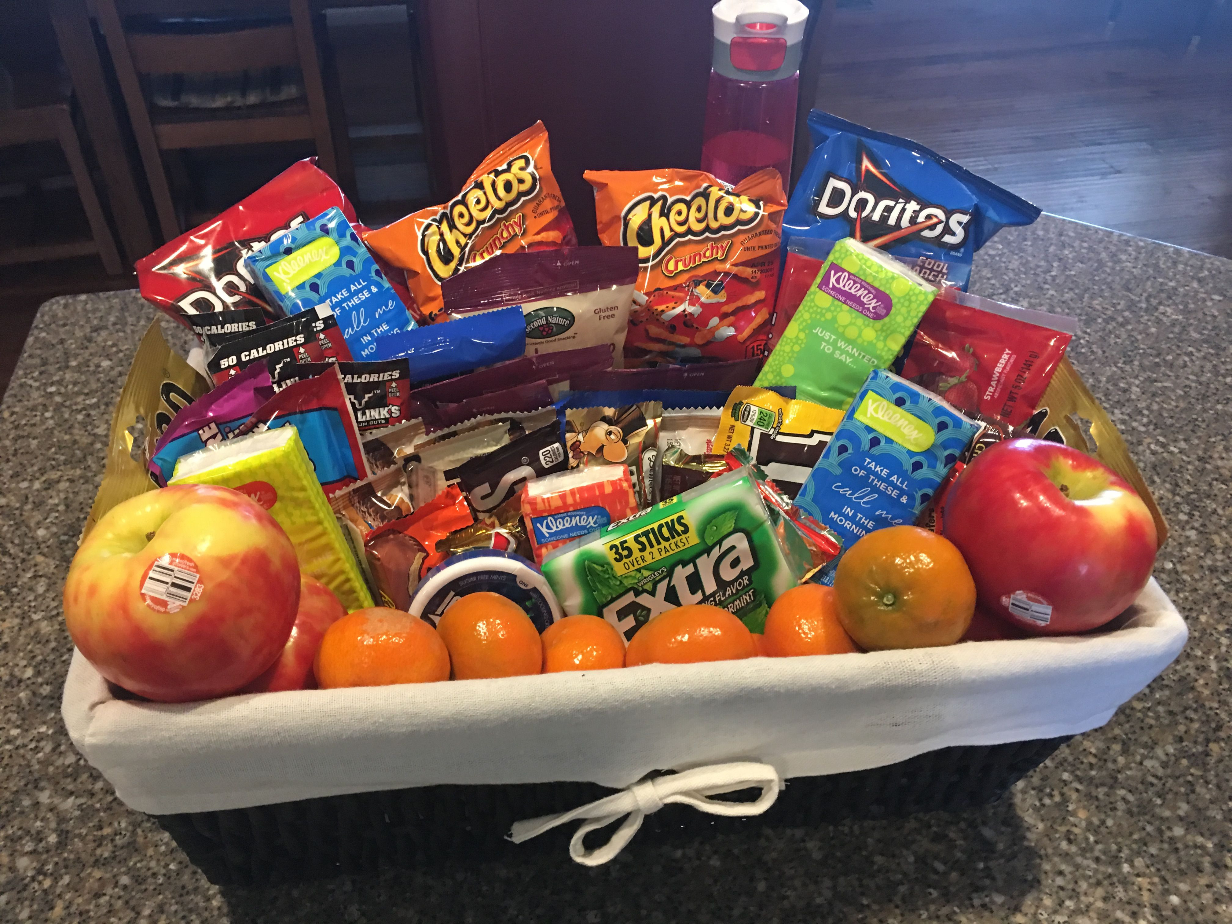 Best ideas about Snack Gift Basket Ideas . Save or Pin Snack basket for family during a long hospital stay Now.