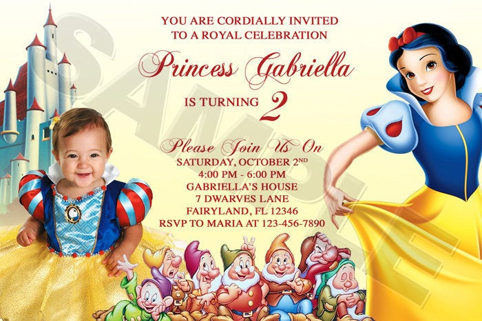 Best ideas about Snow White Birthday Invitations . Save or Pin Disney Princess Snow White Birthday Party by funinvitez Now.