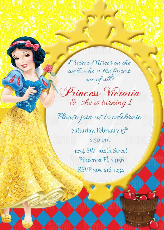 Best ideas about Snow White Birthday Invitations . Save or Pin Snow White Printable Birthday Party Invitation in 2019 Now.