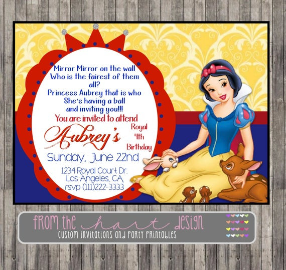 Best ideas about Snow White Birthday Invitations . Save or Pin Snow White Invitation for Birthday Party or Baby Shower Now.