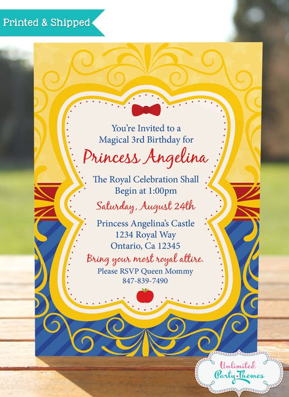 Best ideas about Snow White Birthday Invitations . Save or Pin Princess Snow White Birthday Invitation by Now.