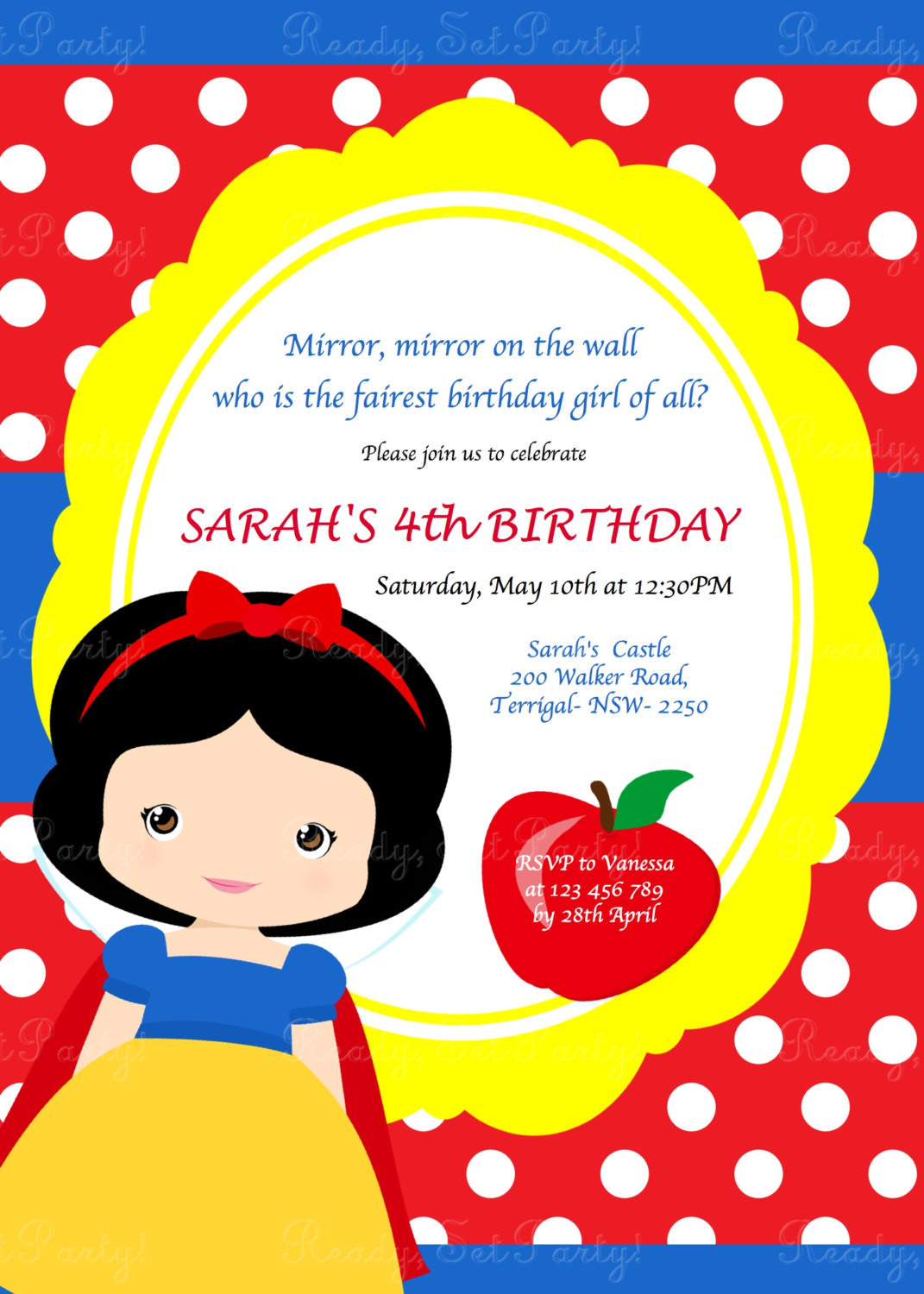 Best ideas about Snow White Birthday Invitations . Save or Pin Snow White Birthday Party Invitation by Love this Moment Now.