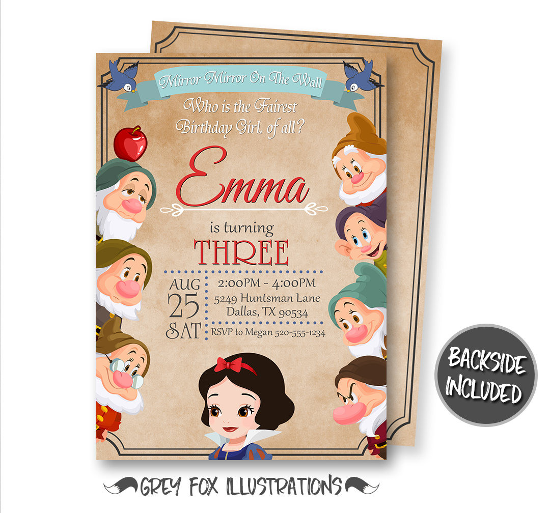 Best ideas about Snow White Birthday Invitations . Save or Pin Snow White Invitation Snow White Birthday Invitation Snow Now.