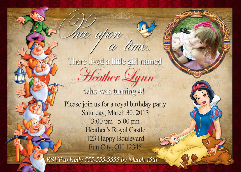 Best ideas about Snow White Birthday Invitations . Save or Pin Snow White Birthday Invitation Digital File JPEG DIY Now.