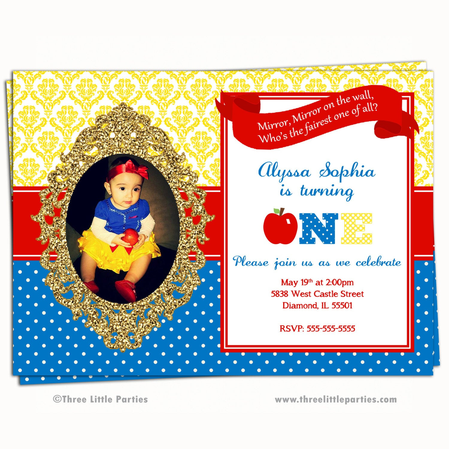 Best ideas about Snow White Birthday Invitations . Save or Pin Snow White Invitation Faux Glitter Snow White Birthday Party Now.