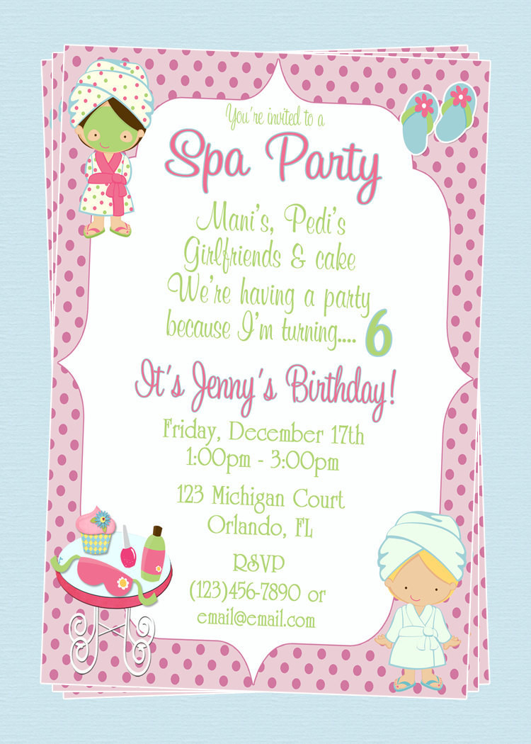 Best ideas about Spa Birthday Invitations . Save or Pin Custom Spa Themed Birthday Party Invitations DIY Printable Now.