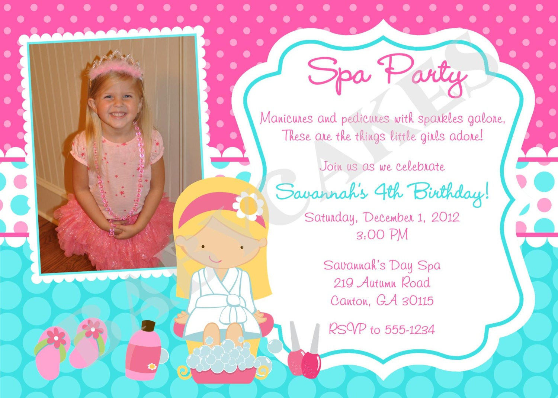 Best ideas about Spa Birthday Invitations . Save or Pin Spa Party Birthday Invitation Invite Pink aqua Now.