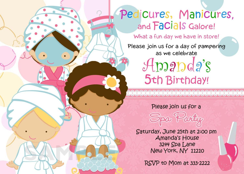 Best ideas about Spa Birthday Invitations . Save or Pin Birthday Invitation Personalized Spa Mani Pedi Birthday Now.