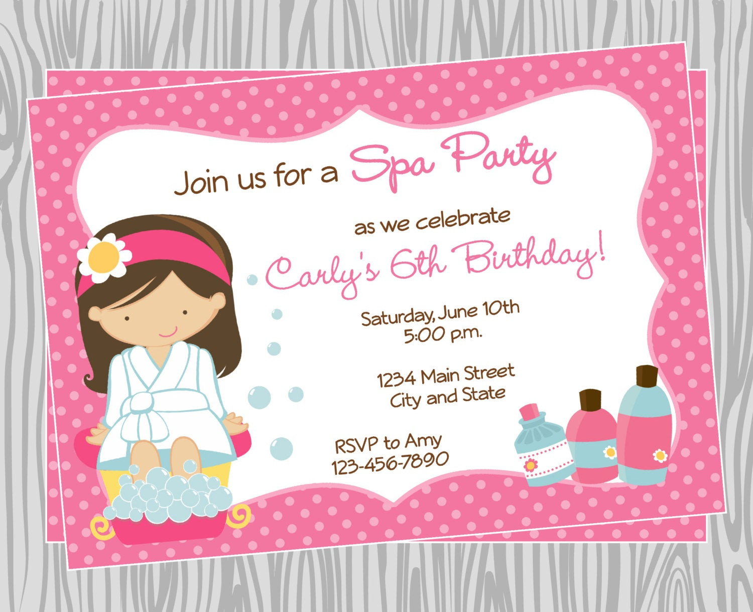 Best ideas about Spa Birthday Invitations . Save or Pin DIY Girl Spa Birthday Party Invitation 4 Coordinating Items Now.