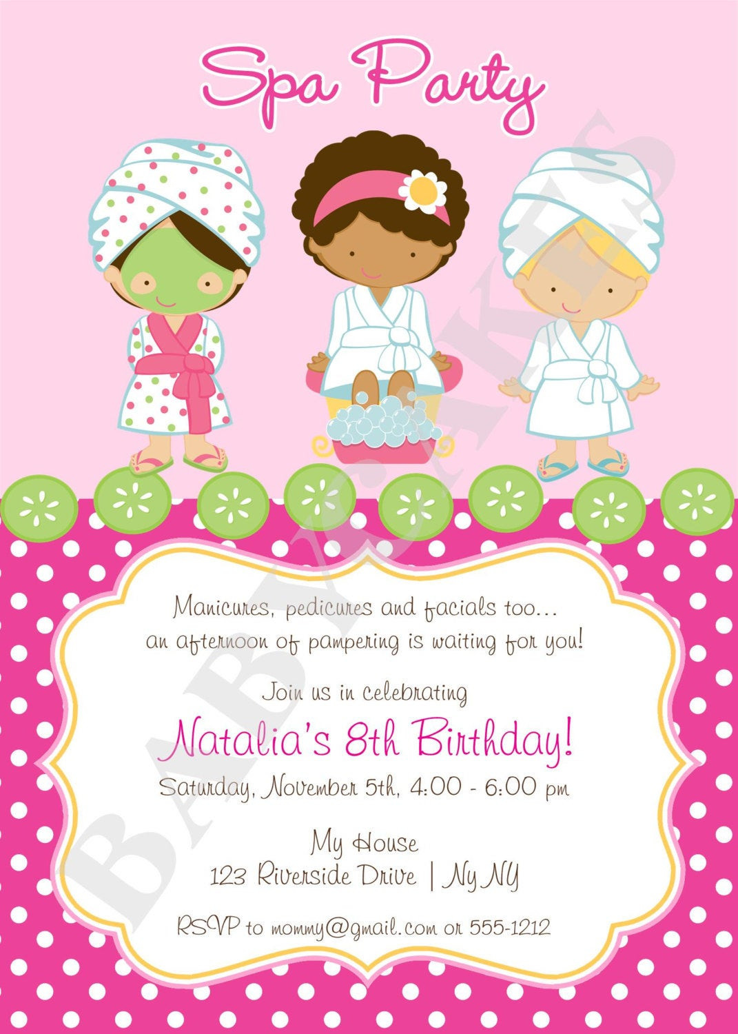 Best ideas about Spa Birthday Invitations . Save or Pin Spa Party Invitation DIY Print Your Own Matching by Now.