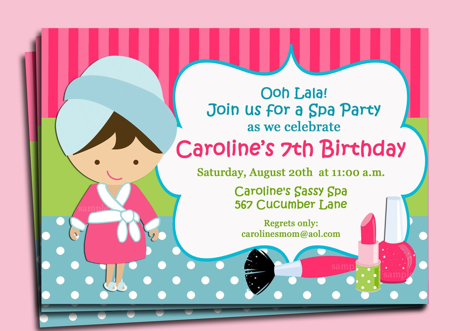 Best ideas about Spa Birthday Invitations . Save or Pin Spa Invitation Printable or Printed with FREE SHIPPING You Now.
