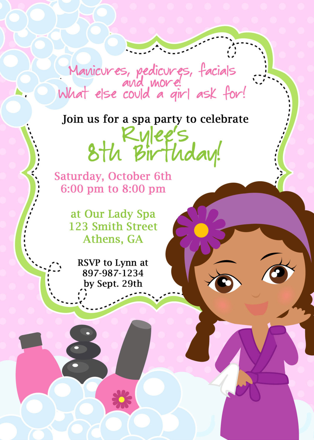 Best ideas about Spa Birthday Invitations . Save or Pin DIY Sassy Spa Party invitation African American by cohenlane Now.