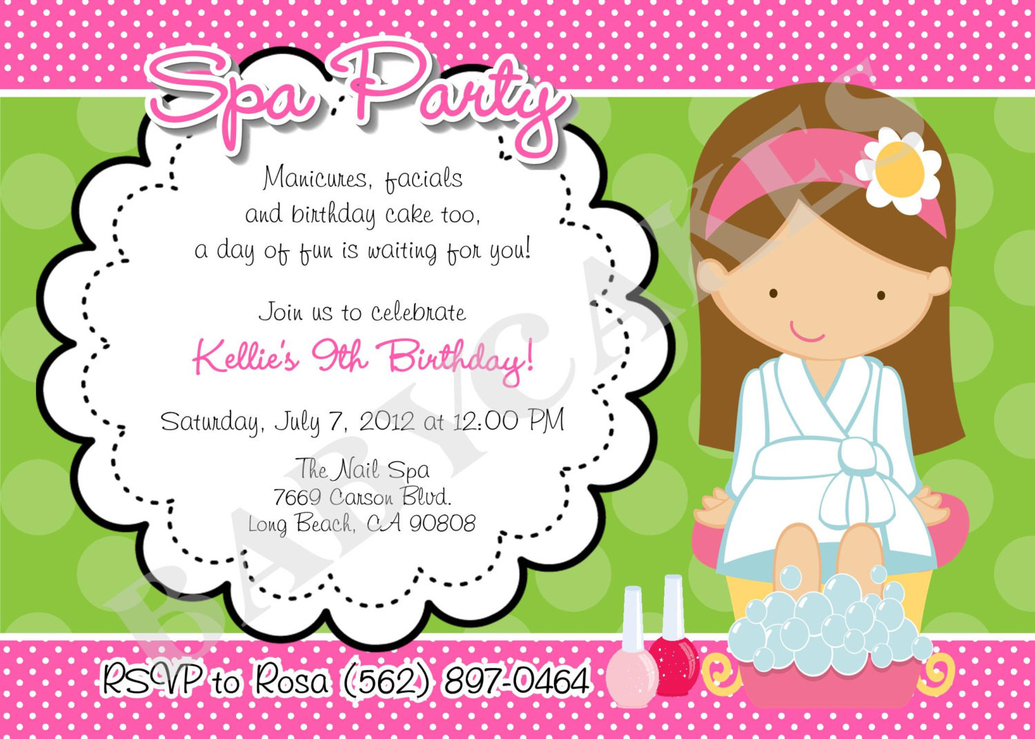 Best ideas about Spa Birthday Invitations . Save or Pin Spa Party Birthday Invitation DIY Print Your Own by Now.